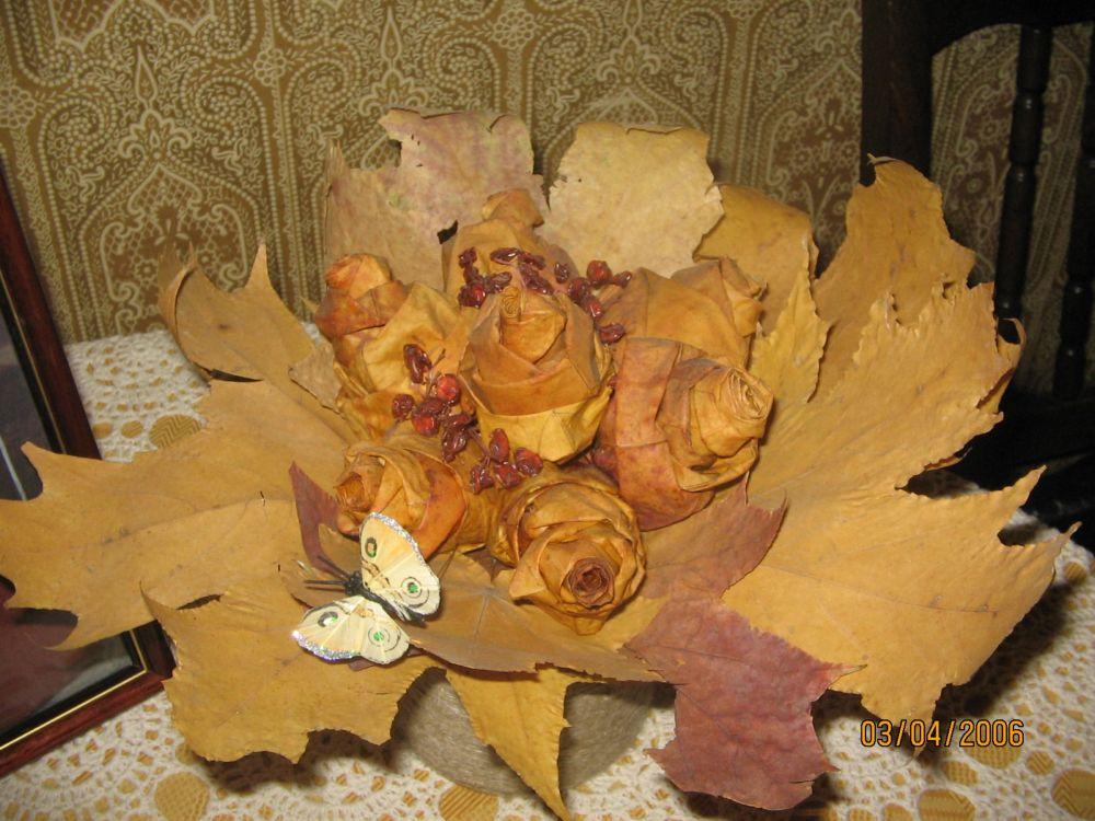 Ваза из листьев своими руками на тему